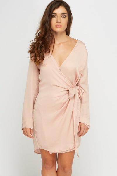 Blush Sateen Wrap Dress