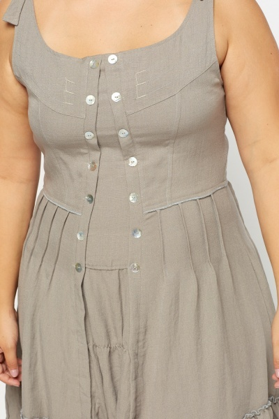 Button Detailed Front Dress