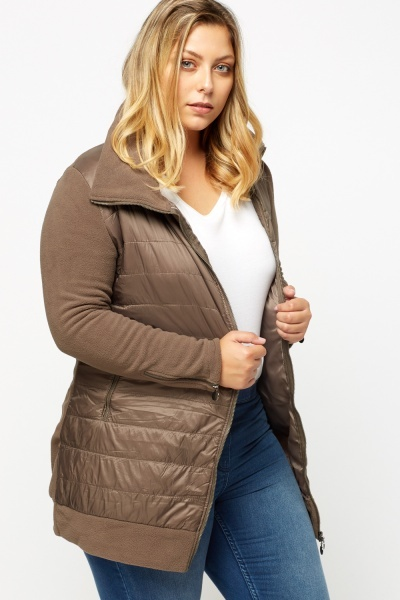 Fleece Quilted Panel Coat
