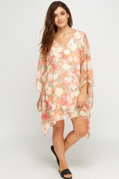 Floral Asymmetric Cover Up