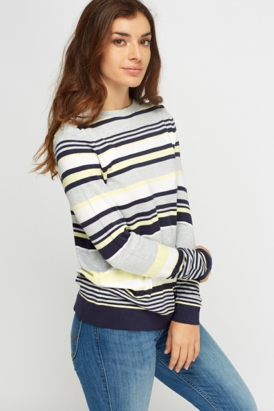 Grey Multi Striped Knitted Jumper