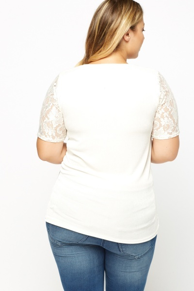 Lace Front Contrast Top