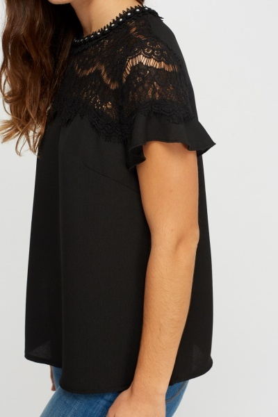 Lace Trim Embellished Top