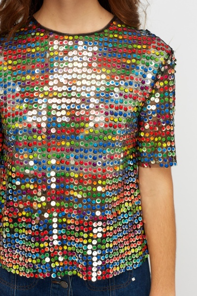 Multi Sequin Box Top