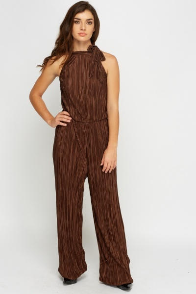 Pleated Brown Jumpsuit