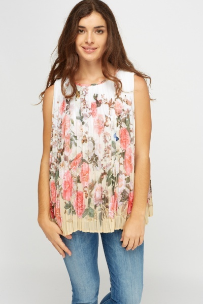 Pleated Floral Sleeveless Top