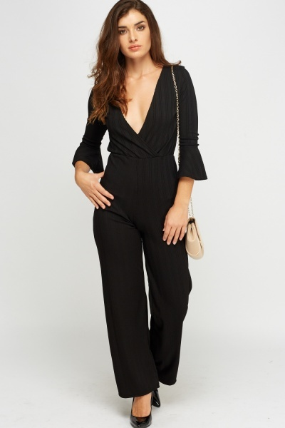 Plunge Ribbed Flare Sleeve Jumpsuit