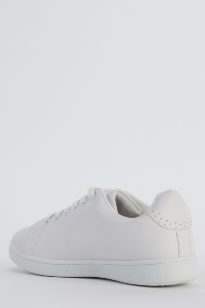 Embroidered Side White Trainers