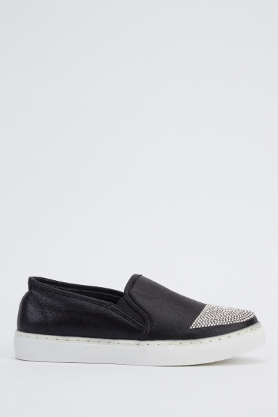 Encrusted Front Contrast Plimsolls