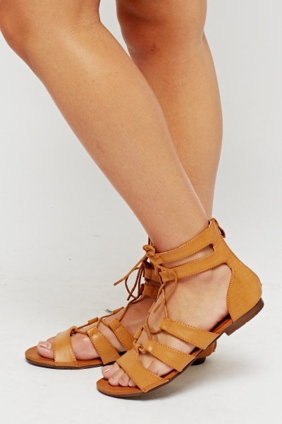 Faux Leather Lace Up Sandals
