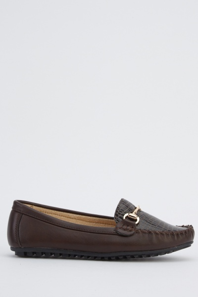 Mock Croc Detailed Loafers
