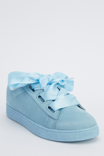 Ribbon Lace Up Suedette Trainers