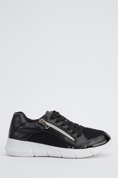 Zip Detail Contrast Trainers