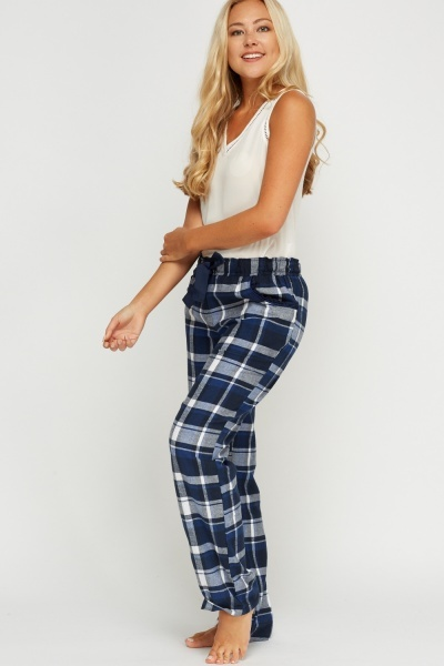 Checked Navy Pyjama Trousers