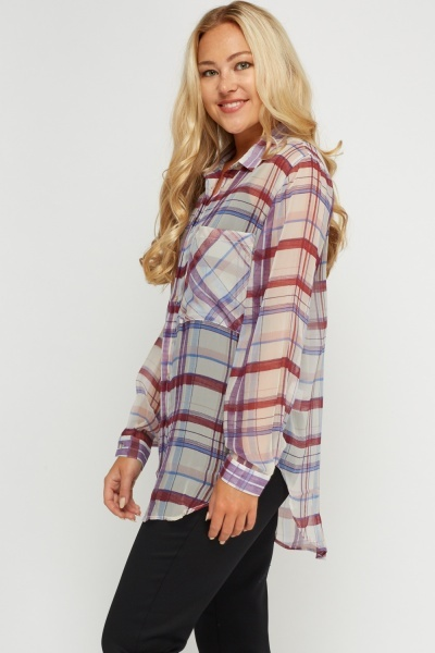 Checked Sheer Shirt