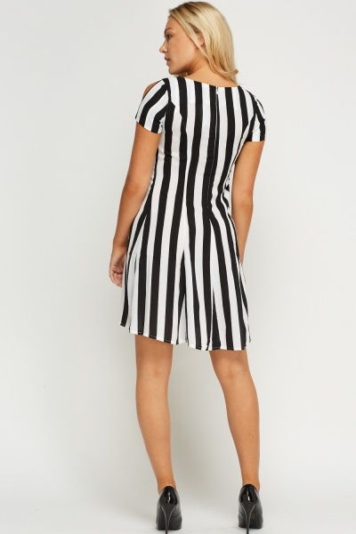 Cut Out Sleeve Stripe Swing Dress
