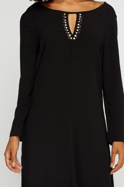 Embellished Cut Out Detail Tunic Dress