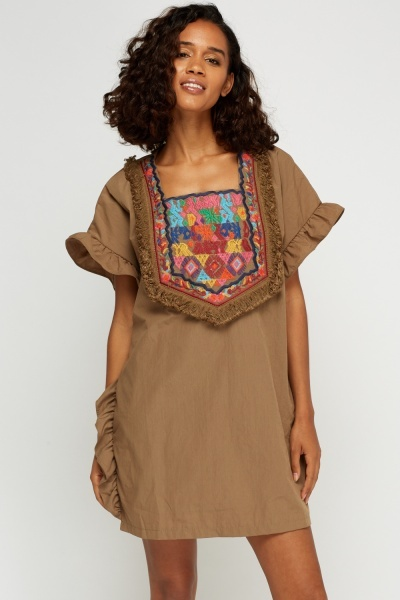 Embroidered Frilled Box Dress