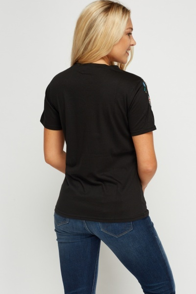 Embroidered Trim Black T-Shirt