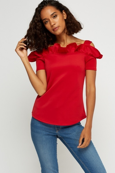 Frilled Cold Shoulder Top