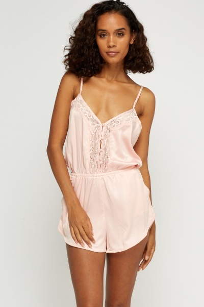 Lace Insert Silky Playsuit