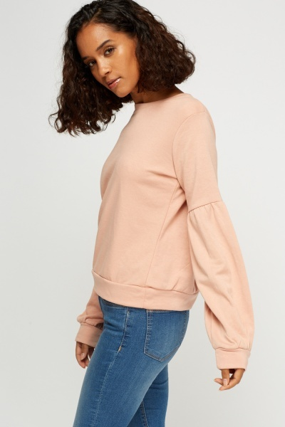Ruched Sleeve Dusty Pink Jumper