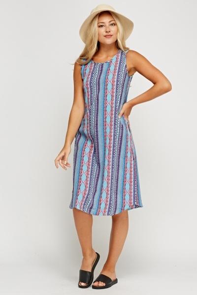 Blue Mixed Print Midi Dress