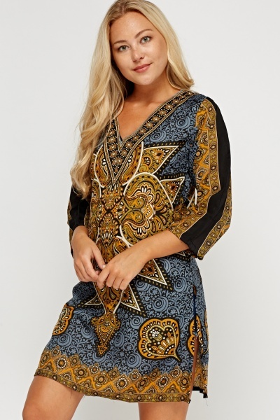 Embellished Printed Tunic Dress