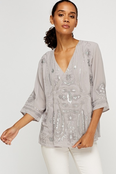 Embroidered Wrap Sheer Top