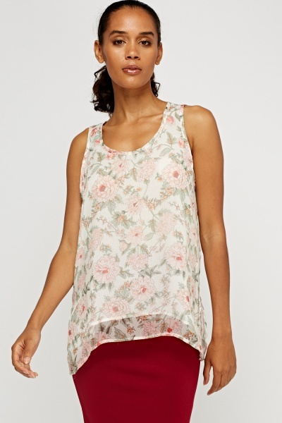 Floral Rose Sheer Dip Hem Top