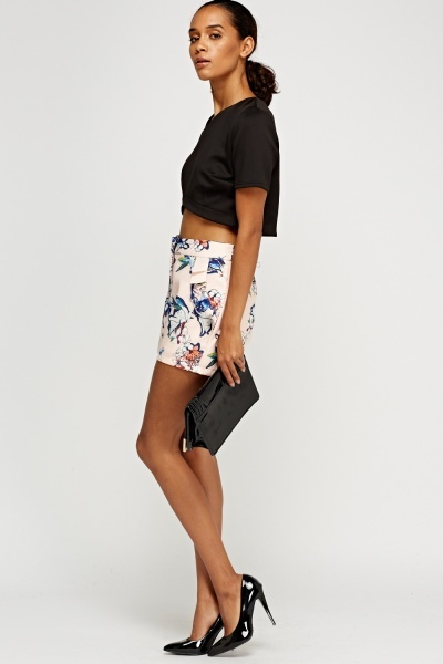 Frilled Printed Peach Short