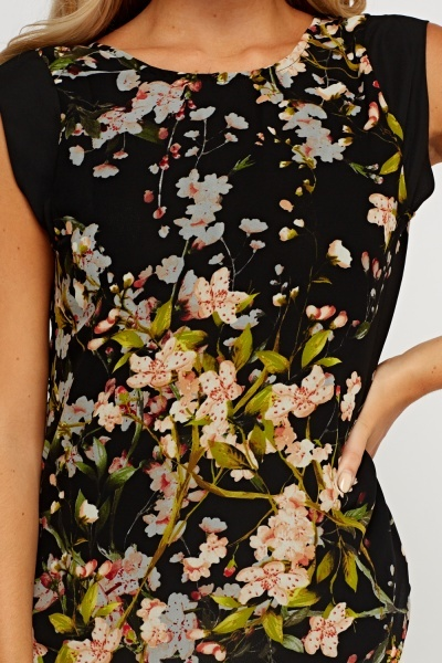 Printed Floral Cut Out Neck Top