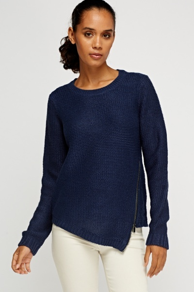 Zip Side Cable Knit Jumper