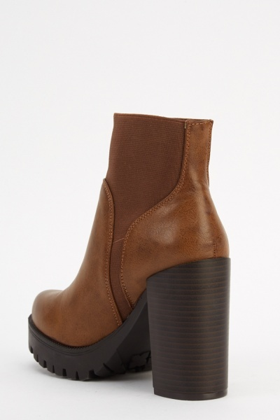 Insert Elastic Band Faux Leather Heeled Boots