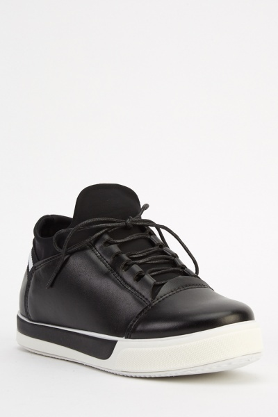 Insert Sock Contrasted Faux Leather Trainers