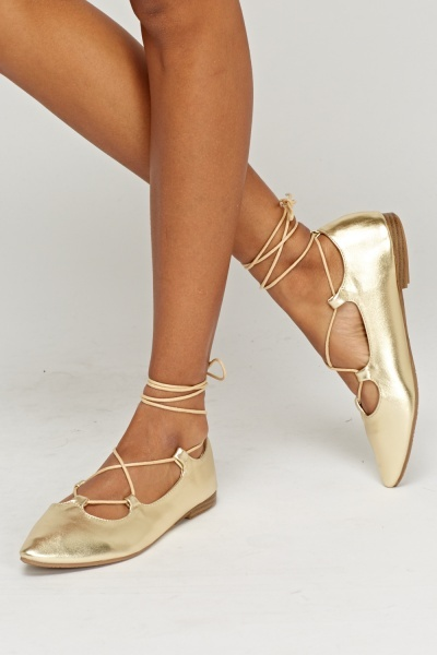 Lace Up Metallic Ballerinas