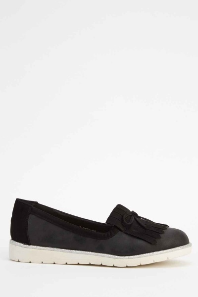 Suedette Fringed Faux Leather Ballerinas