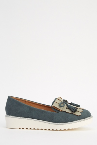 Two Tone Flatform Loafers