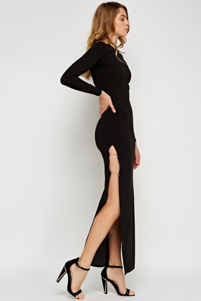 Black Detailed Slit Side Maxi Dress