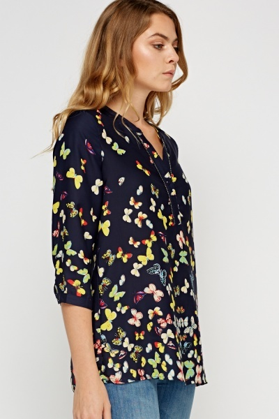 Butterfly Printed Button Neck Blouse