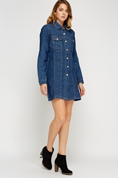 Denim Button Up Dress