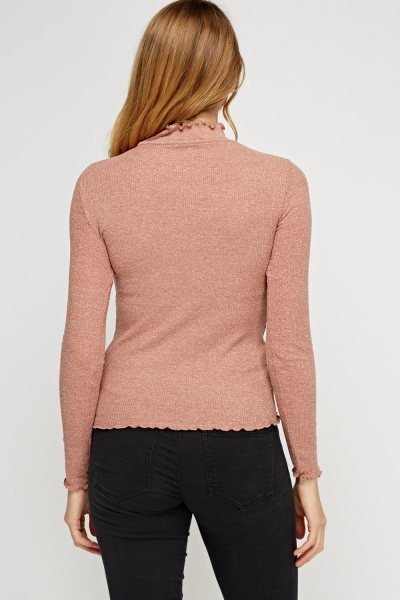 Frilled Dusty Pink Knit Top