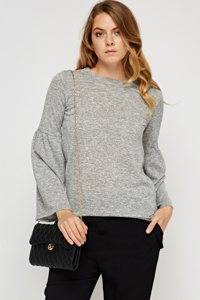 Grey Speckled Flare Sleeve Top