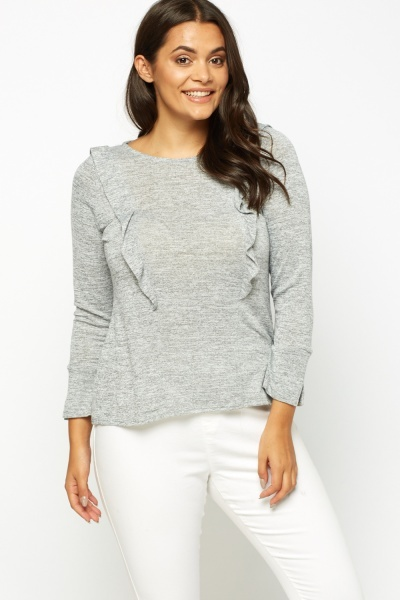 Light Grey Speckled Frilled Top