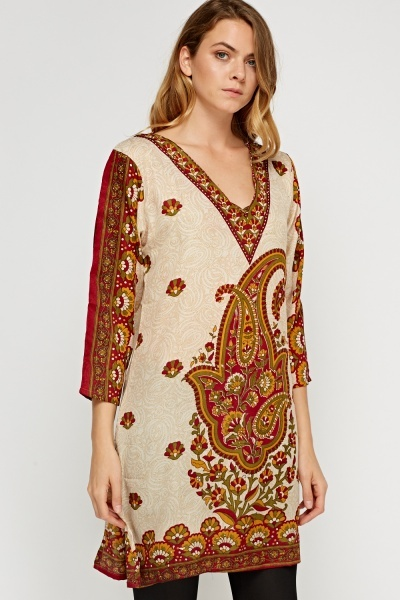 Mixed Print Glitter Tunic Dress