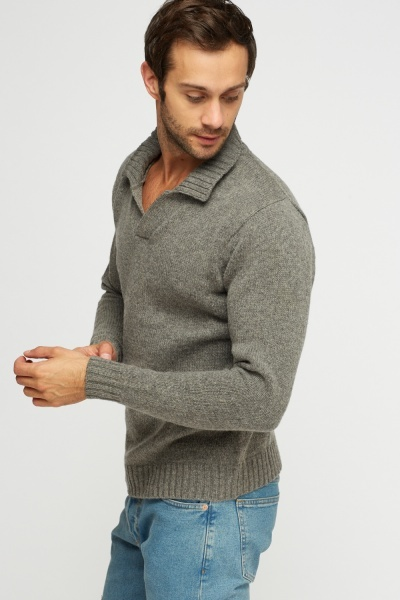 Ribbed Neck Knitted Jumper