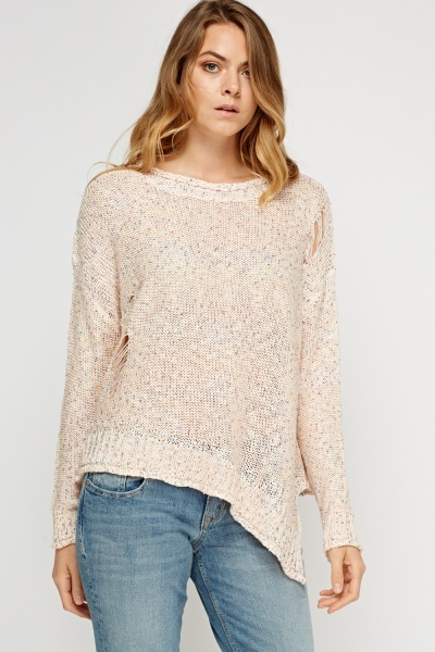 Sequin Knitted Asymmetric Jumper