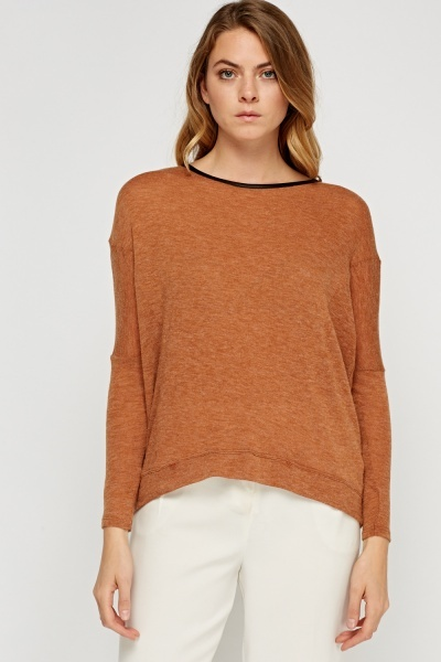 Soft Knit Contrast Trim Top