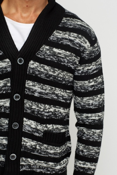 Striped Knitted Button Up Cardigan