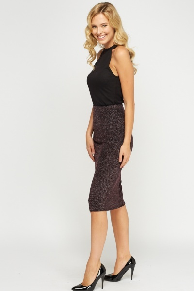 Lurex Black Midi Skirt